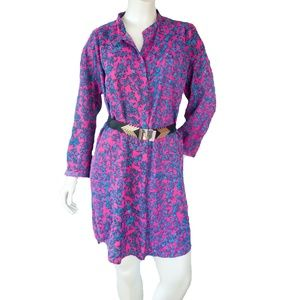 See by Chole Size 6 Pink & Blue Floral Shirt Dress